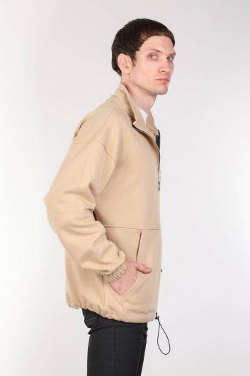 Erkek Bej Şardonlu Fermuarlı Cepli Sweatshirt - Thumbnail