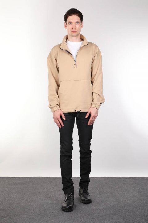 Erkek Bej Şardonlu Fermuarlı Cepli Sweatshirt