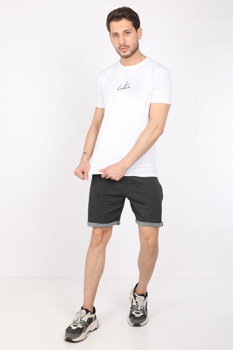 Erkek Beyaz Arkası Baskılı Bisiklet Yaka T-shirt