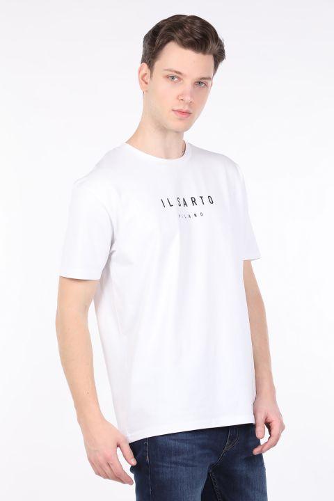 Erkek Beyaz Bisiklet Yaka T-shirt