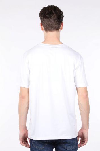 Erkek Beyaz Bisiklet Yaka T-shirt - Thumbnail