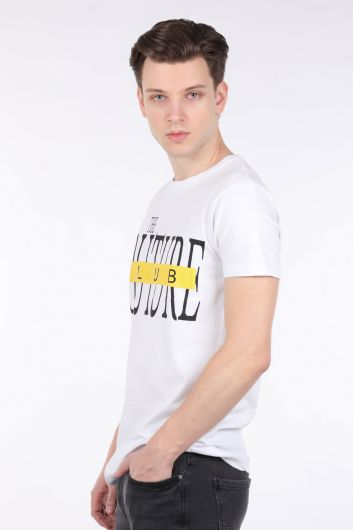 COUTURE - Erkek Beyaz Couture Baskılı Bisiklet Yaka T-shirt (1)