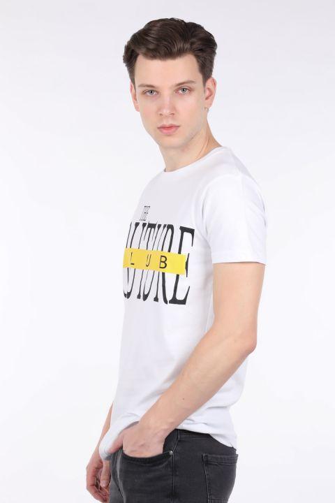 Erkek Beyaz Couture Baskılı Bisiklet Yaka T-shirt