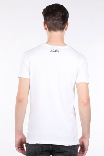 Erkek Beyaz Couture Baskılı Bisiklet Yaka T-shirt - Thumbnail