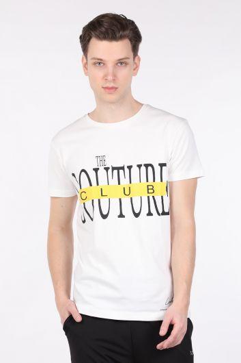 Erkek Ekru Couture Baskılı Bisiklet Yaka T-shirt - Thumbnail