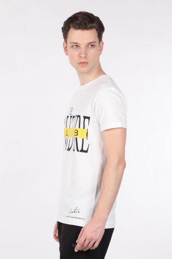 COUTURE - Erkek Ekru Couture Baskılı Bisiklet Yaka T-shirt (1)