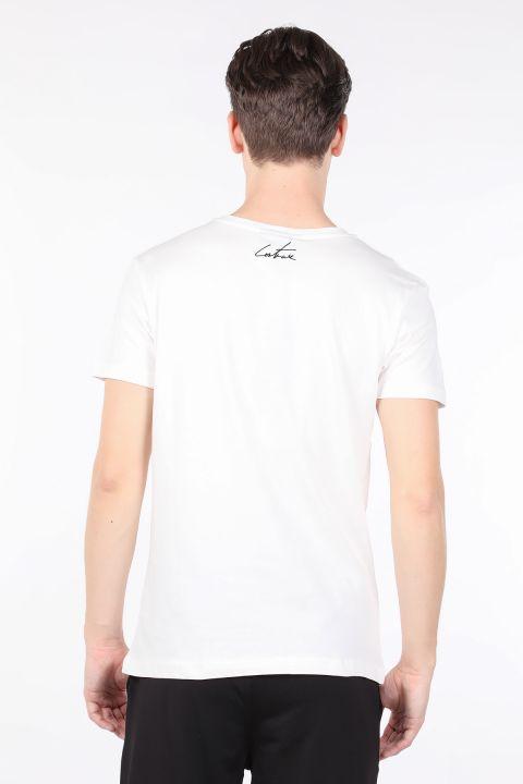 Erkek Ekru Couture Baskılı Bisiklet Yaka T-shirt
