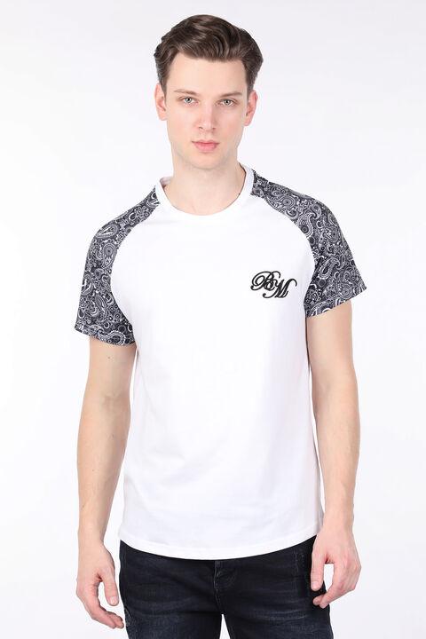 Erkek Beyaz Desenli Reglan Kol Bisiklet Yaka T-shirt