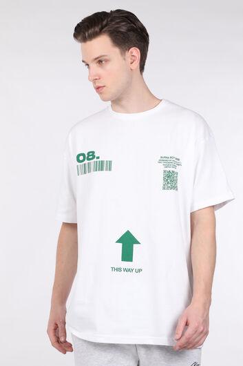 Erkek Beyaz Kod Baskılı Bisiklet Yaka T-shirt - Thumbnail