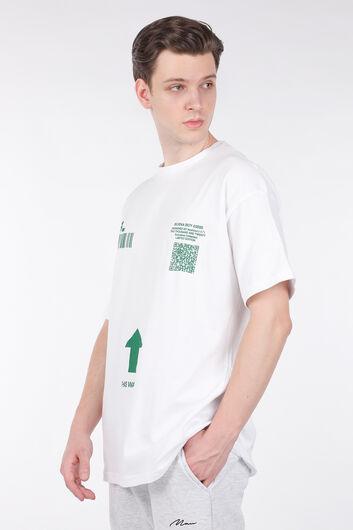 MARKAPIA MAN - Erkek Beyaz Kod Baskılı Bisiklet Yaka T-shirt (1)