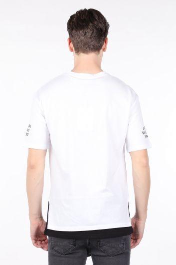 Erkek Beyaz Parçalı Bisiklet Yaka T-shirt - Thumbnail