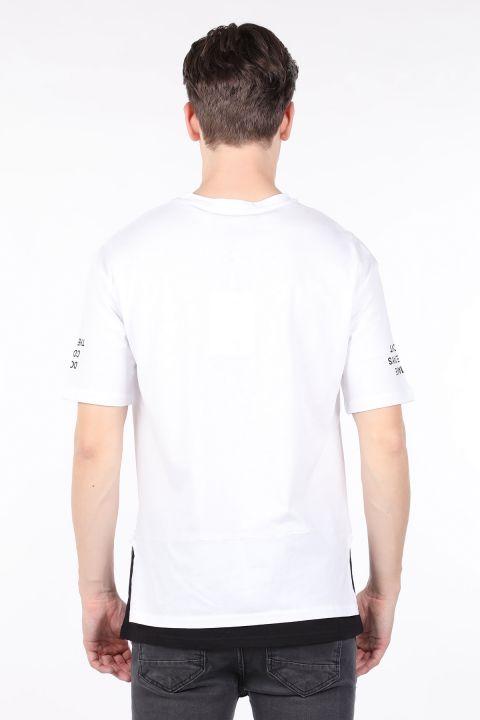 Erkek Beyaz Parçalı Bisiklet Yaka T-shirt