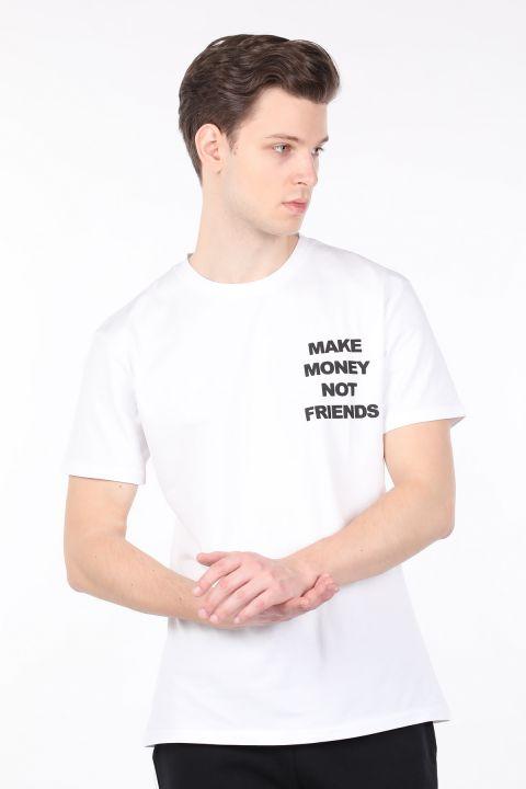 Erkek Beyaz Sırtı Baskılı Bisiklet Yaka T-shirt