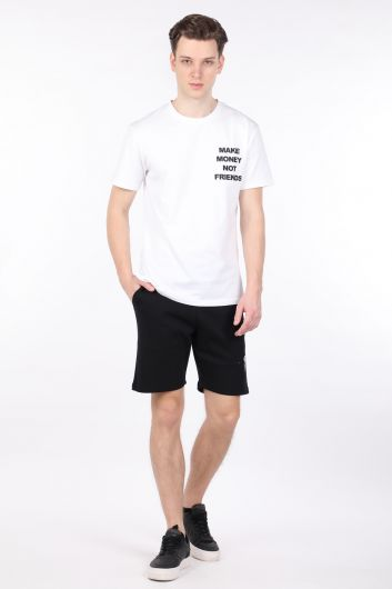 Erkek Beyaz Sırtı Baskılı Bisiklet Yaka T-shirt - Thumbnail