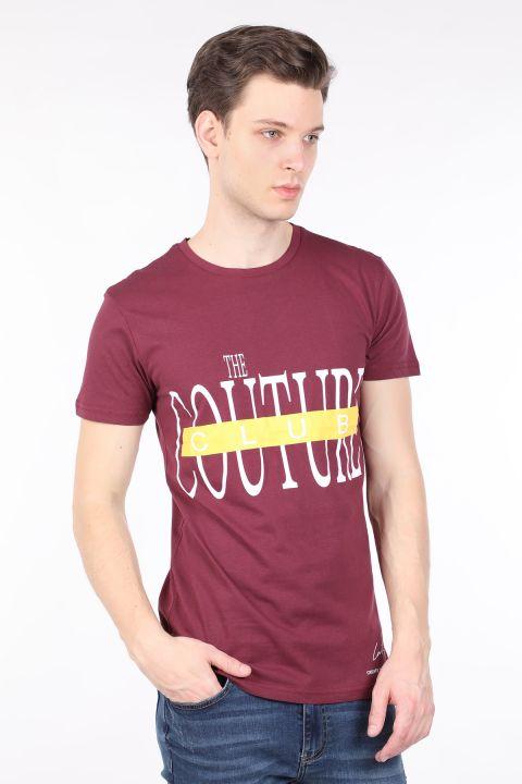 Erkek Bordo Couture Baskılı Bisiklet Yaka T-shirt