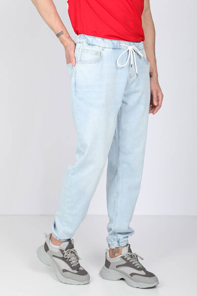 BLUE WHITE - Erkek Buz Mavisi Belden İpli Jogger Pantolon (1)