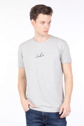 Erkek Couture Gri Arkası Baskılı Bisiklet Yaka T-shirt - Thumbnail