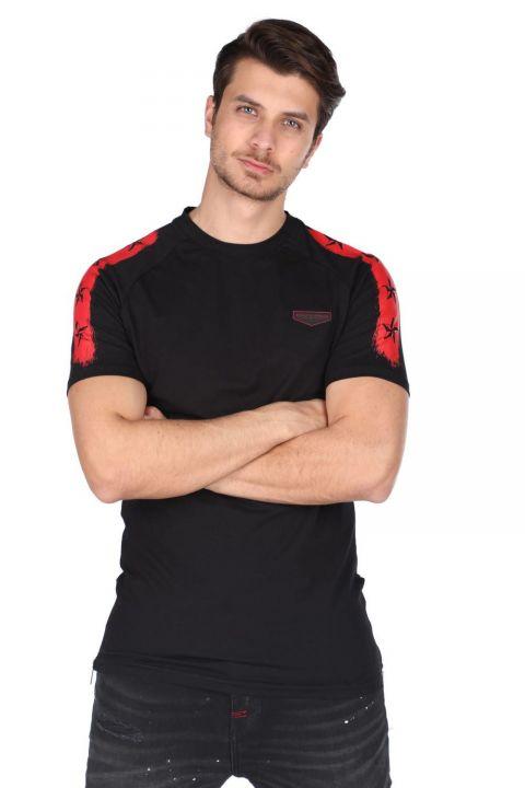 Fermuar Detaylı Erkek Bisiklet Yaka T-Shirt