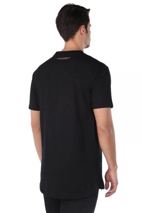 Erkek Fermuar Detaylı Bisiklet Yaka T-Shirt