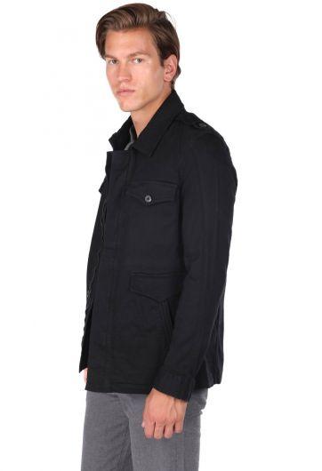 ZEUS - Erkek Fermuarlı Hakim Yaka Siyah Ceket (1)