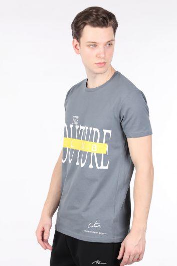 COUTURE - Erkek Füme Couture Baskılı Bisiklet Yaka T-shirt (1)