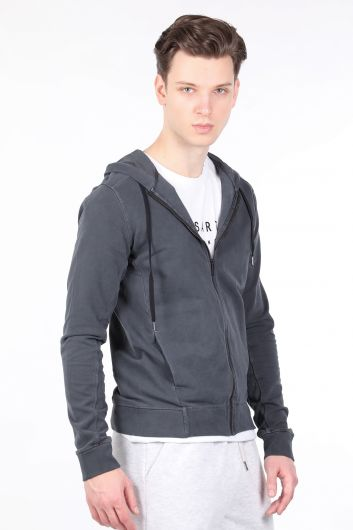 MARKAPIA - Erkek Füme Kapüşonlu Fermuarlı Sweatshirt (1)
