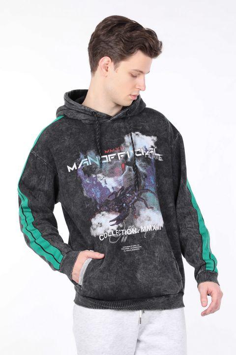Erkek Füme Yandan Şeritli Kapüşonlu Sweatshirt