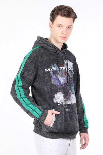 MARKAPIA - Erkek Füme Yandan Şeritli Kapüşonlu Sweatshirt (1)