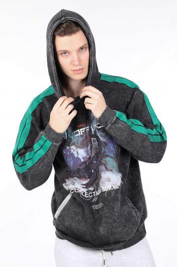 Erkek Füme Yandan Şeritli Kapüşonlu Sweatshirt - Thumbnail