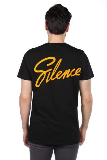 Silence Yazılı Siyah Erkek Bisiklet Yaka T-Shirt - Thumbnail