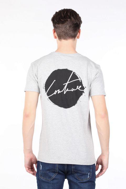Erkek Gri Arkası Baskılı Bisiklet Yaka T-shirt