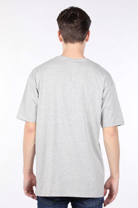 Erkek Gri Bisiklet Yaka Oversize T-shirt