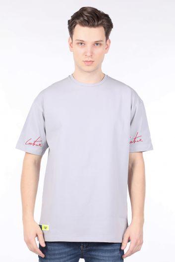 Erkek Gri Bisiklet Yaka Oversize T-shirt - Thumbnail