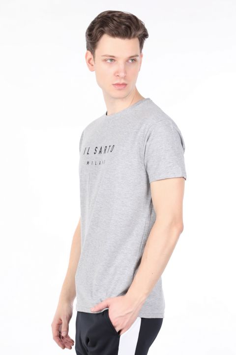 Erkek Gri Bisiklet Yaka T-shirt