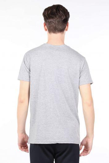 Erkek Gri Bisiklet Yaka T-shirt - Thumbnail