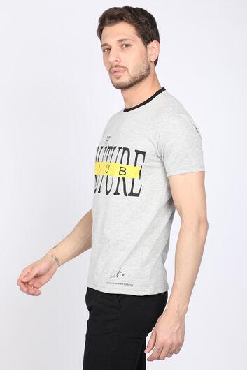 COUTURE - Erkek Gri Couture Bisiklet Yaka Biyeli T-shirt (1)