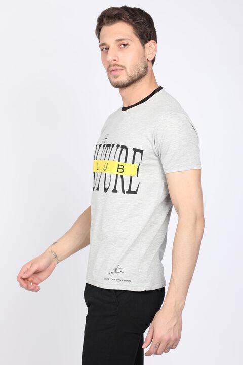 Erkek Gri Couture Bisiklet Yaka Biyeli T-shirt