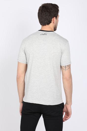 Erkek Gri Couture Bisiklet Yaka Biyeli T-shirt - Thumbnail