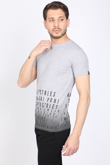 MARKAPIA - Erkek Gri Harf Baskılı Bisiklet Yaka T-shirt (1)