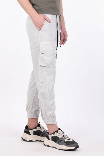 BLUE WHITE - Men's Gray Cargo Pocket Jogger Trousers (1)