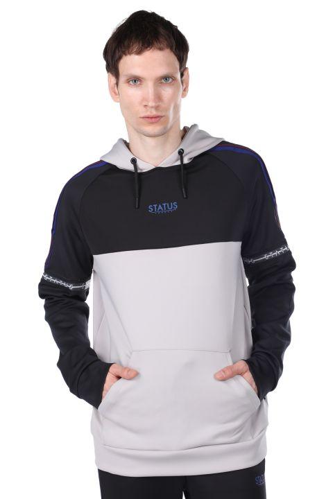 Erkek Gri Parçalı Kapüşonlu Sweatshirt