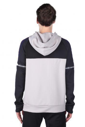 Erkek Gri Parçalı Kapüşonlu Sweatshirt - Thumbnail