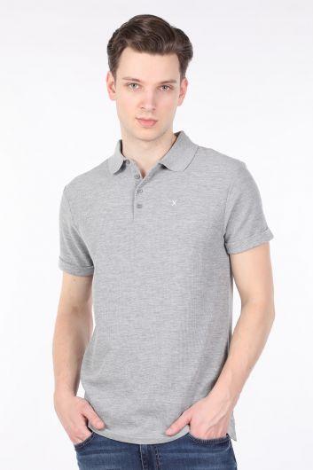 Erkek Gri Polo Yaka T-shirt - Thumbnail
