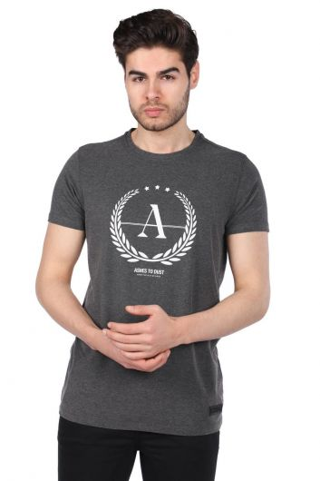 MARKAPIA - Erkek Gri Regular Fit Bisiklet Yaka T-Shirt (1)