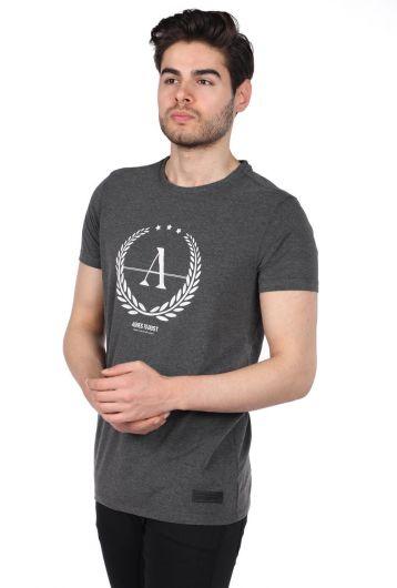 Erkek Gri Regular Fit Bisiklet Yaka T-Shirt - Thumbnail