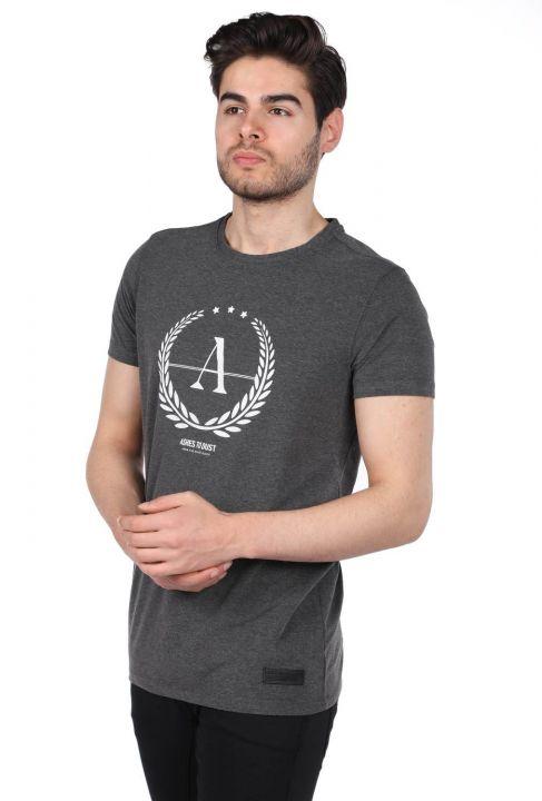 Erkek Gri Regular Fit Bisiklet Yaka T-Shirt