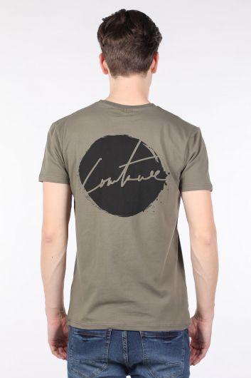 Erkek Haki Arkası Baskılı Bisiklet Yaka T-shirt - Thumbnail