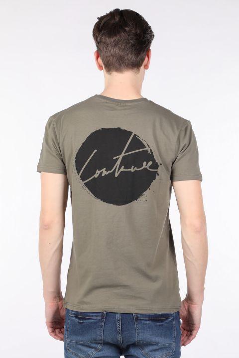 Erkek Haki Arkası Baskılı Bisiklet Yaka T-shirt