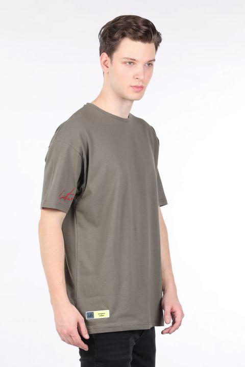 Erkek Haki Bisiklet Yaka Oversize T-shirt