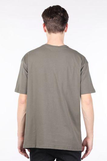 Erkek Haki Bisiklet Yaka Oversize T-shirt - Thumbnail